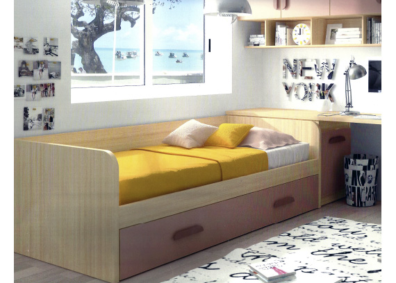 Muebles gama for Cama nido con escritorio incorporado